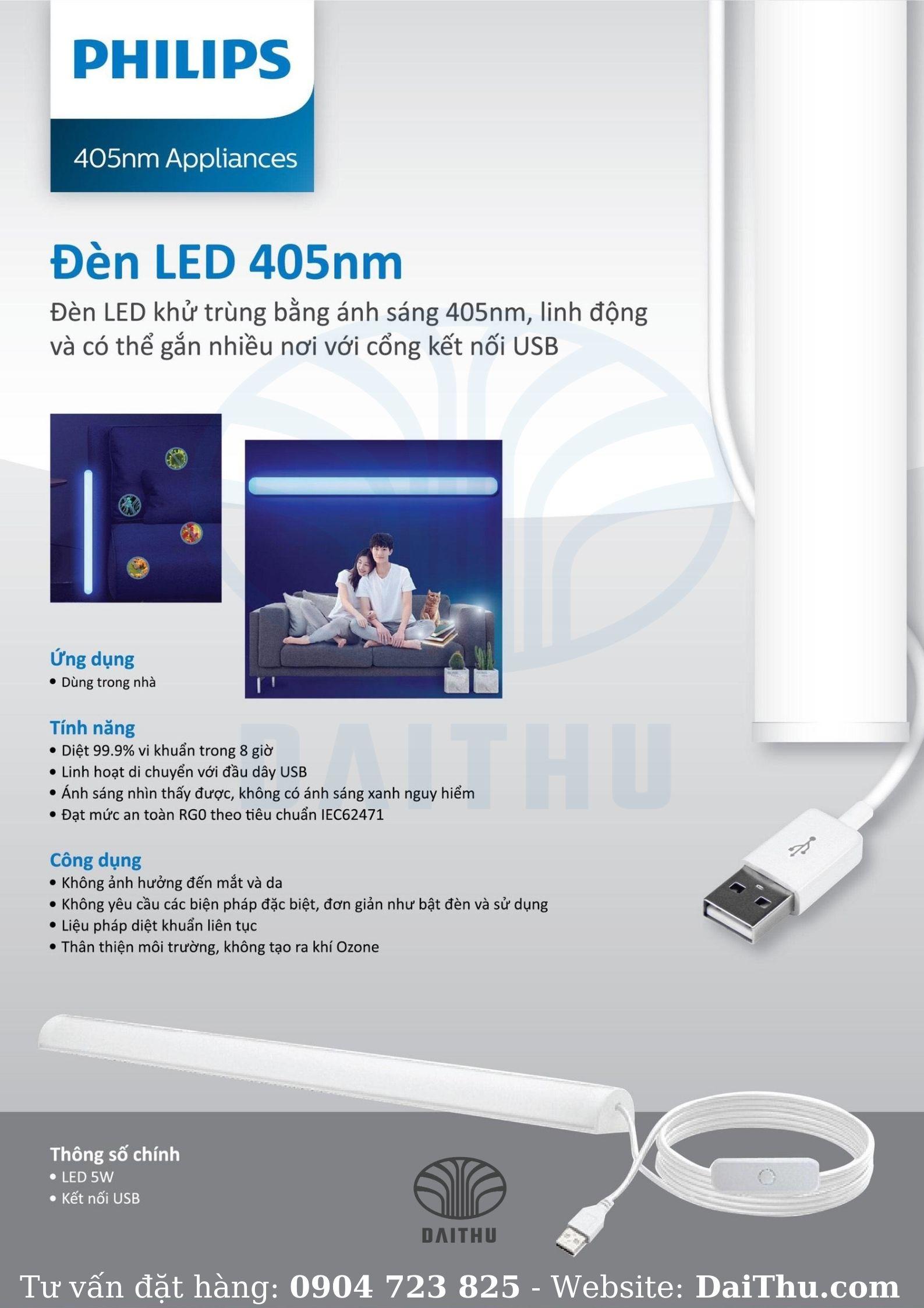 Hình thực tế Đèn Led khử trùng Philips ánh sáng 405nm UV ánh sáng diệt 99.9% vi khuẩn - công suất 5W - Dai Thu Company