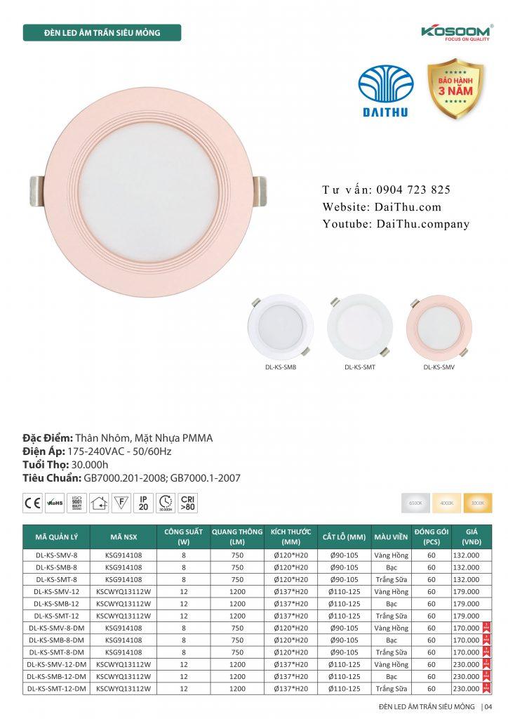 Đèn led âm trần siêu mỏng Kosoom 3 chế độ viền vàng bạc trắng