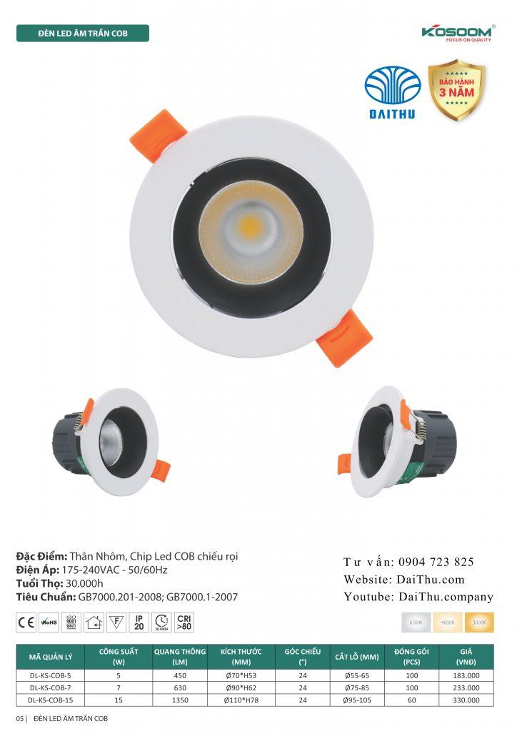Catalogue Kosoom mới nhất 2020 - 2021 bản đầy đủ - Đèn led âm trần Kosoom chiếu điểm led COB phi 55 65 mm 5W - 75 85 7W - 95 105 15W