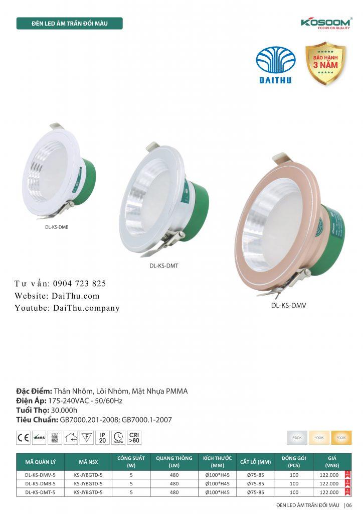 Catalogue Kosoom mới nhất 2020 - 2021 bản đầy đủ - Đèn led âm trần Kosoom đổi 3 màu viền - thay thế đèn lon cũ phi 75 85 mm 5W