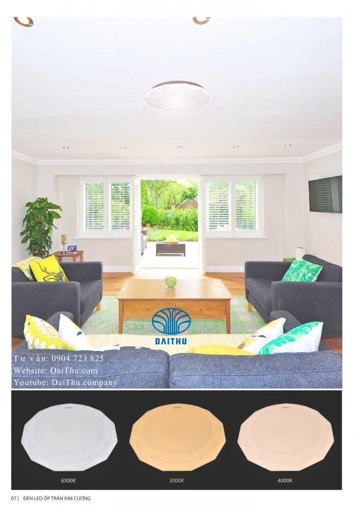 Đèn ốp trần Kim cương Kosoom 14W - 18W - 24W 3 chế độ đổi màu trắng - vàng - trung tính, trang trí phòng khách - phòng ngủ