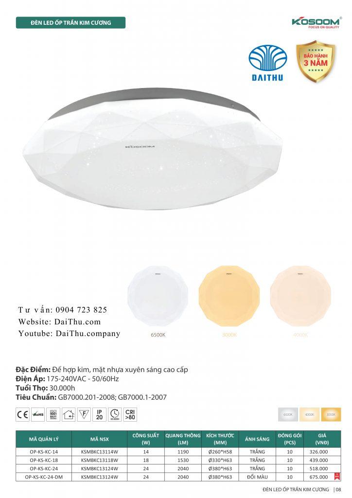 Đèn ốp trần Kim cương Kosoom 14W - 18W - 24W 3 chế độ đổi màu trắng - vàng - trung tính, đèn trang trí phòng khách - phòng ngủ