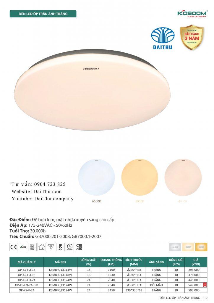 Đèn ốp trần Ánh trăng tròn Kosoom 14W - 18W - 24W 3 chế độ đổi màu và ốp vuông Steve Jobs 24W, đèn trang trí phòng khách - phòng ngủ