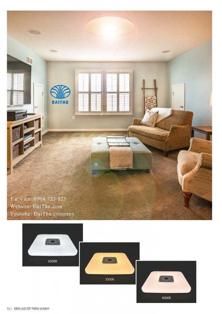 Hình minh họa đèn led ốp trần Sunny tròn vuông Kosoom 36W 3 chế độ đổi màu, đèn trang trí phòng khách - phòng ngủ
