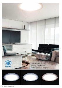 Đèn led ốp trần Apollo Kosoom viền cam / viền xanh dương / viền trong suốt 22W / 45W 3 chế độ đổi màu, đèn trang trí phòng khách - phòng ngủ