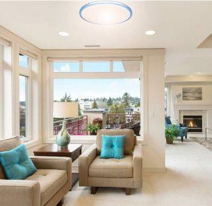 Đèn led ốp trần Pha lê trắng, Pha lê xanh Kosoom 36W 3 chế độ đổi màu, đèn trang trí phòng khách - phòng ngủ