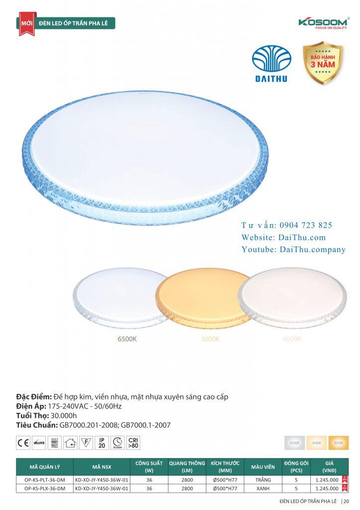Đèn led mâm Pha lê trắng, Pha lê xanh Kosoom 36W 3 chế độ đổi màu, đèn trang trí phòng khách - phòng ngủ
