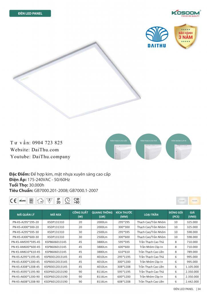 Đèn Led Panel văn phòng Kosoom 600*600 ánh sáng trắng / trung tính 4000k - Lắp âm: trần thạch cao, trần thả, trần nhôm clip-in