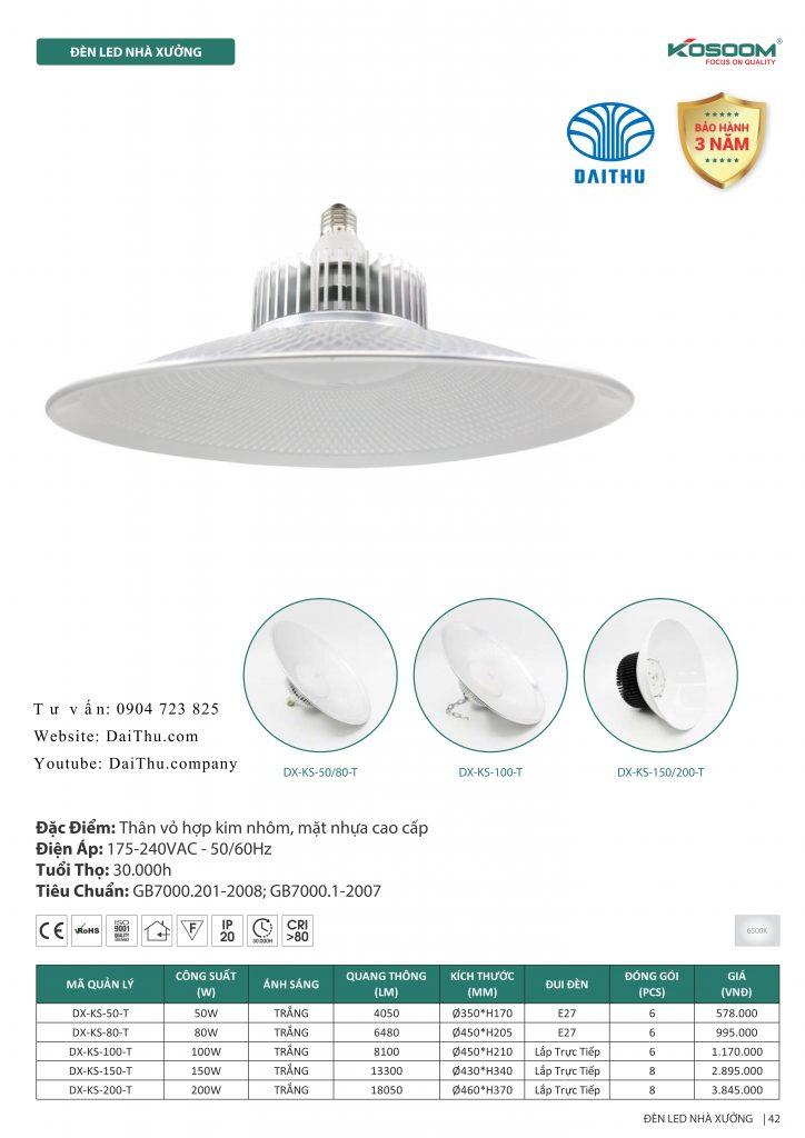 Đèn chao Led nhà xưởng Kosoom lowbay 50W 80W highbay 100W 150W 200W