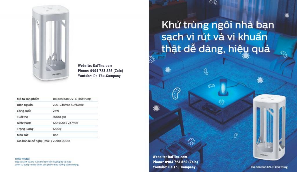 Tài liệu hướng dẫn sử dụng đèn bàn UV-C Philips 24W khử trùng - diệt khuẩn - vô hiệu hóa vi rút 6