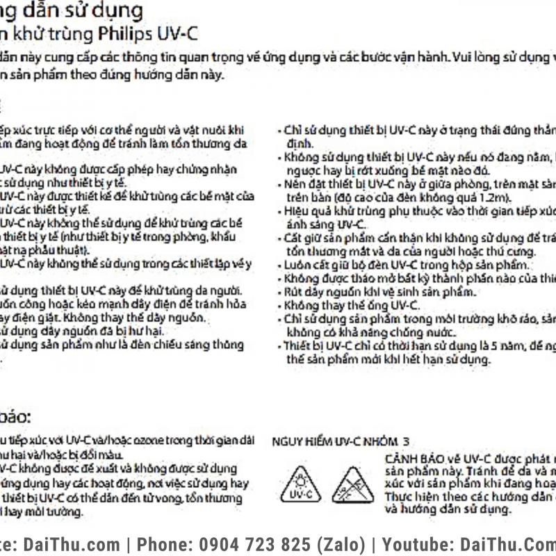Tài liệu hướng dẫn sử dụng đèn bàn UV-C Philips 24W khử trùng - diệt khuẩn - vô hiệu hóa vi rút