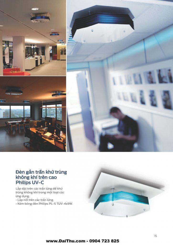 Đèn gắn trần khử trùng không khí trên cao Philips UVC diệt khuẩn không khí môi trường 1