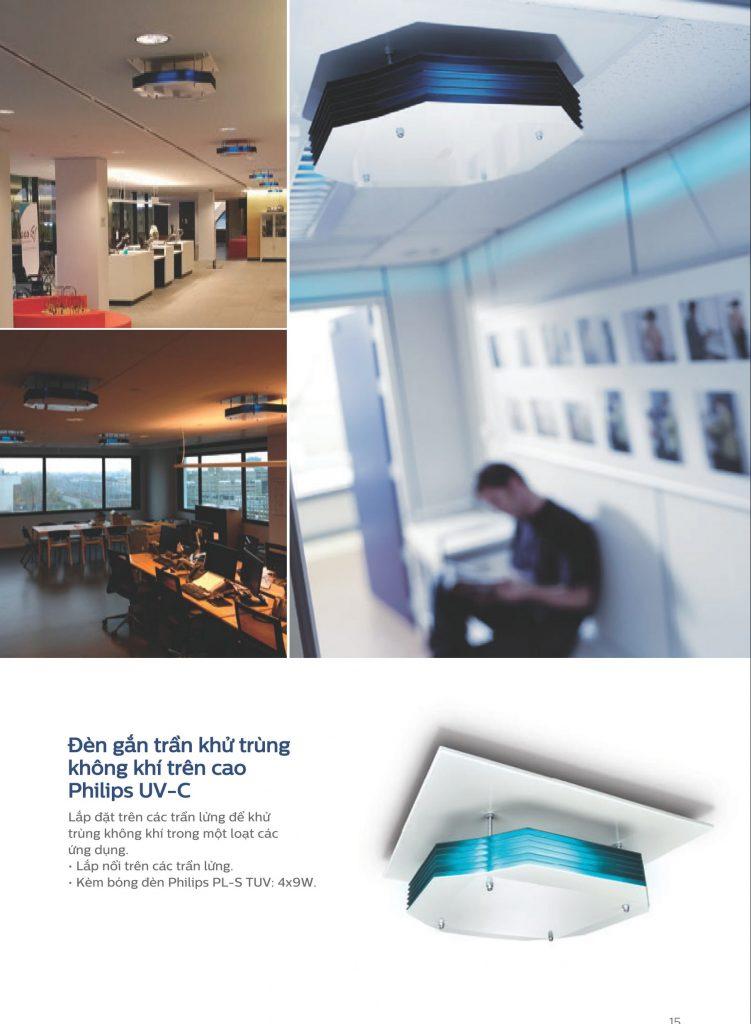 Đèn khử khuẩn không khí Philips UV C gắn trần - Giải pháp UVGI vùng trên căn phòng