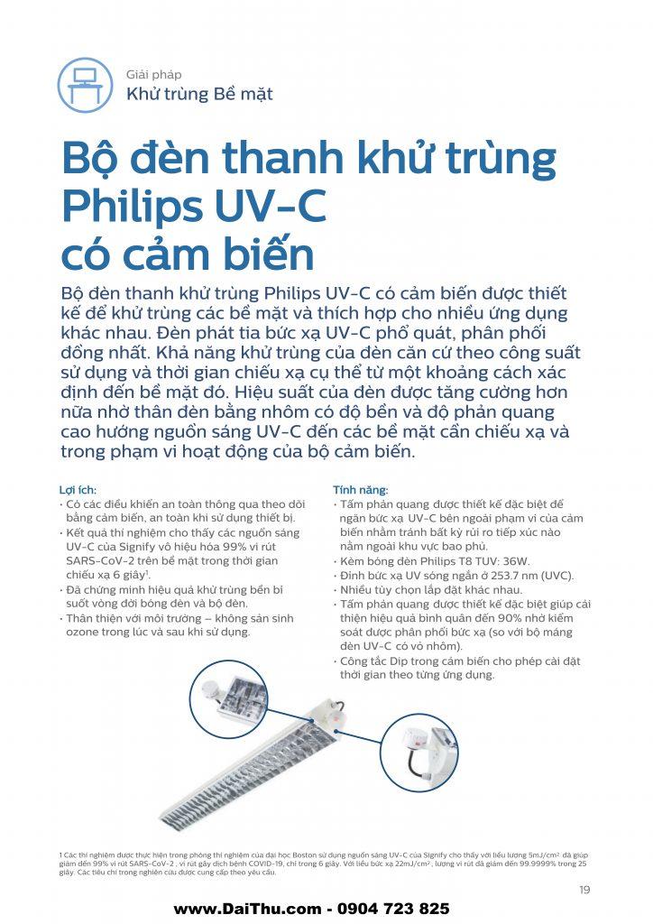 Bộ đèn thanh khử trùng UVC Philips có cảm biến diệt khuẩn