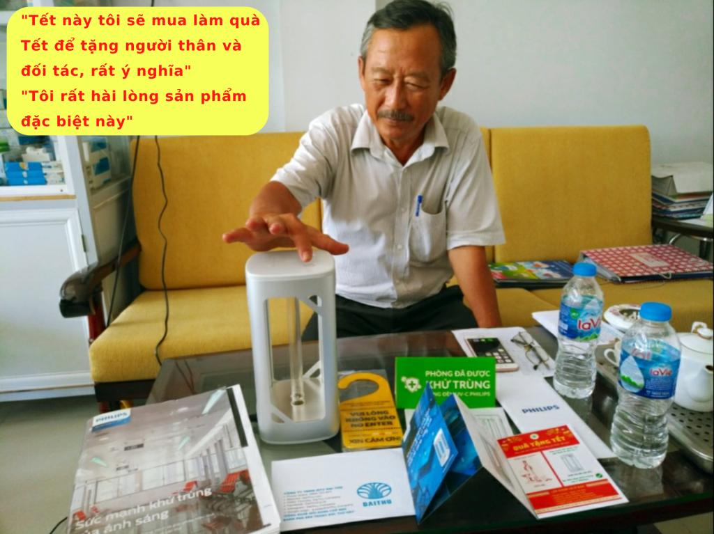 Khách hàng doanh nghiệp tại Tân An - Long An - Giám Đốc - Nguyễn An Tuấn - Đèn bàn UVC Philips khử trùng diệt khuẩn 99%