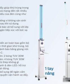 Xe đẩy khử trùng UVC Philips UVC Trolley - Giải pháp diệt khuẩn bề mặt hiệu quả cho khách sạn nhà hàng resort trường học ngân hàng chống dịch bệnh Covid 19