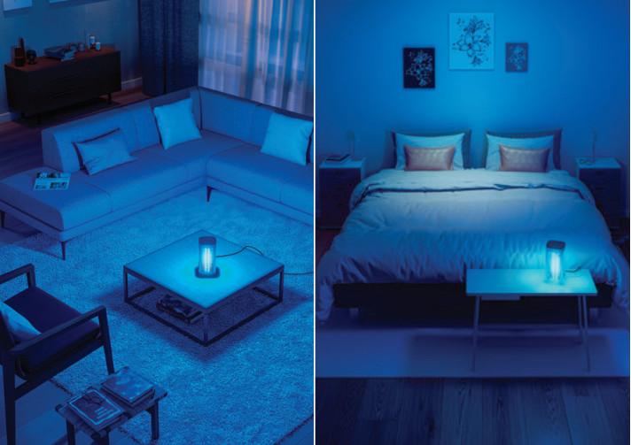 Sử dụng đèn bàn UVC Philips cho khu vực phòng khách - phòng ngủ khử sạch vi khuẩn vi rút