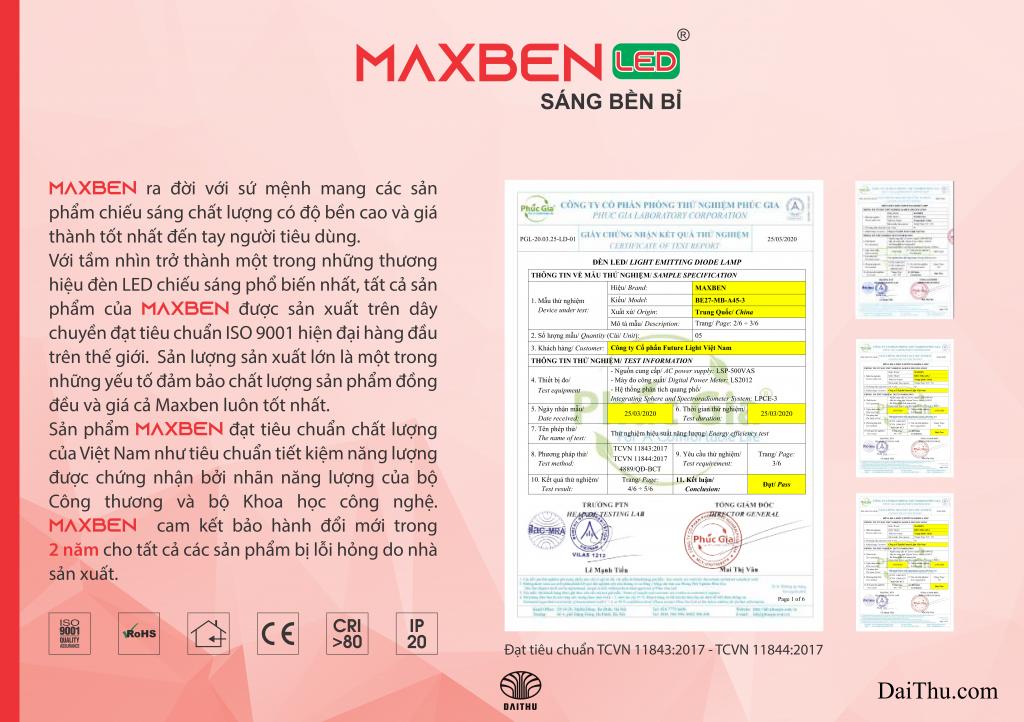 CO CQ chứng nhận đèn Led Maxben