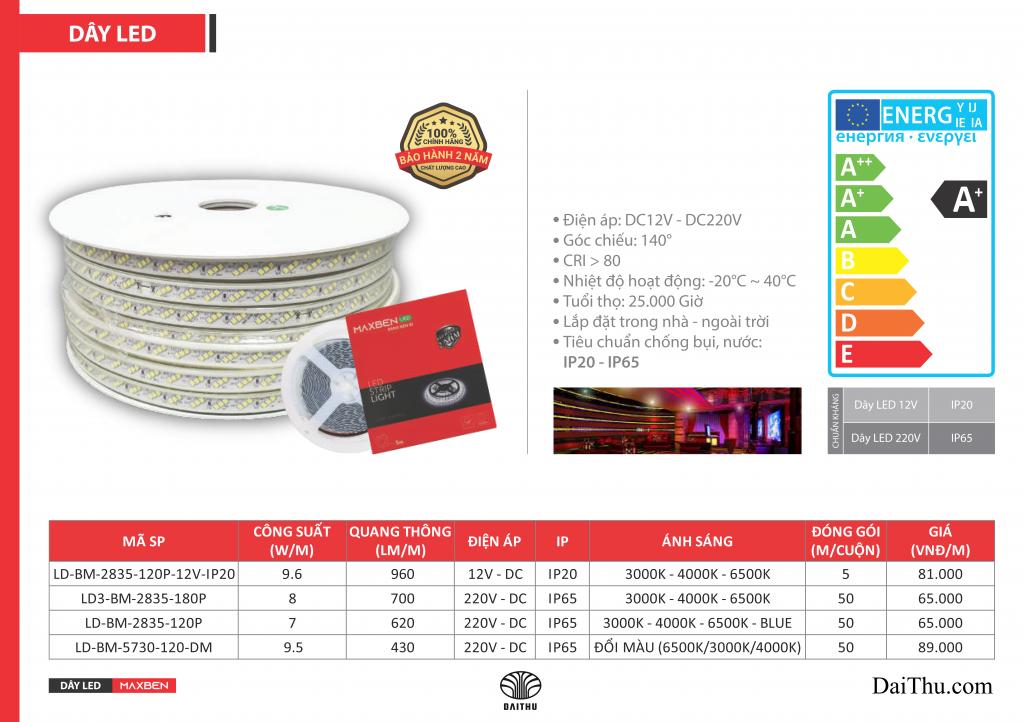 Led dây Maxben dây 220V dây led cuộn 5m 12V trắng vàng trung tính đổi màu