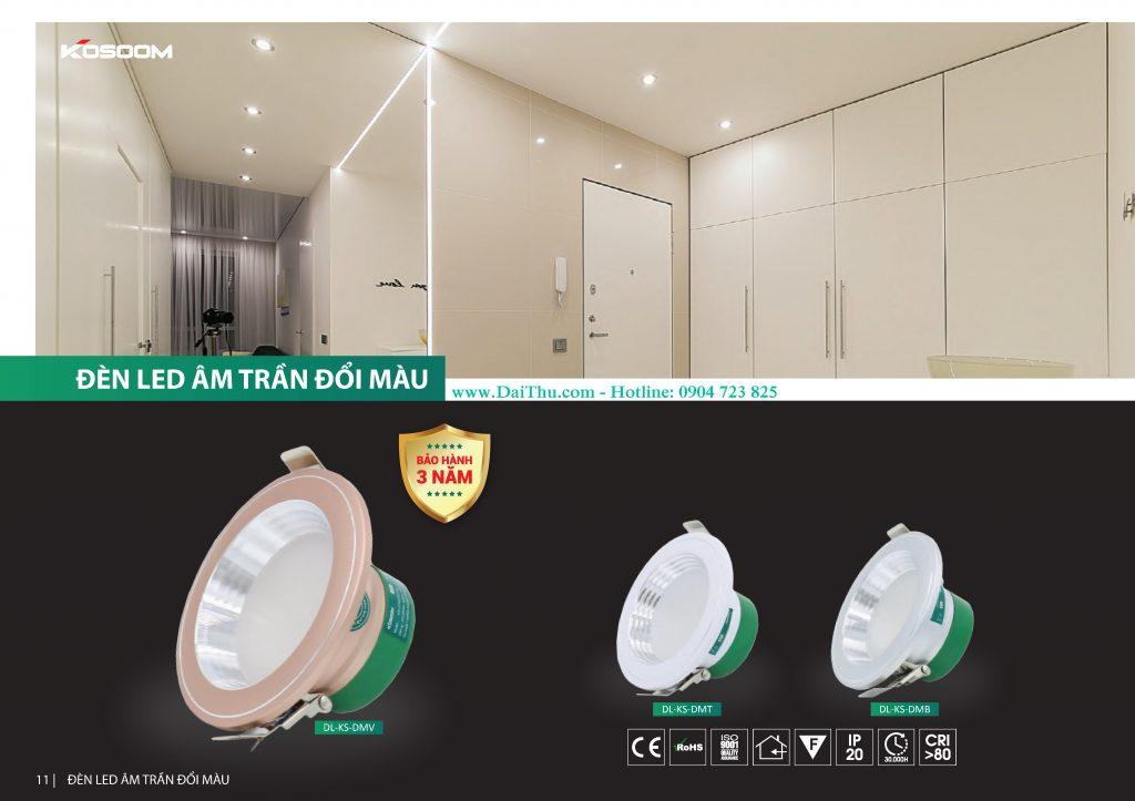 Đèn Led âm trần đổi màu 3 chế độ Kosoom siêu mỏng thân nhôm đúc nguyên khối giá tốt chất lượng cho công trình dự án DMV DMB DMT