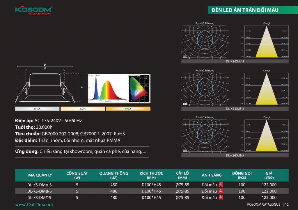 Thông số đèn Led âm trần đổi màu 3 chế độ Kosoom siêu mỏng thân nhôm đúc nguyên khối giá tốt chất lượng cho công trình dự án DMV DMB DMT