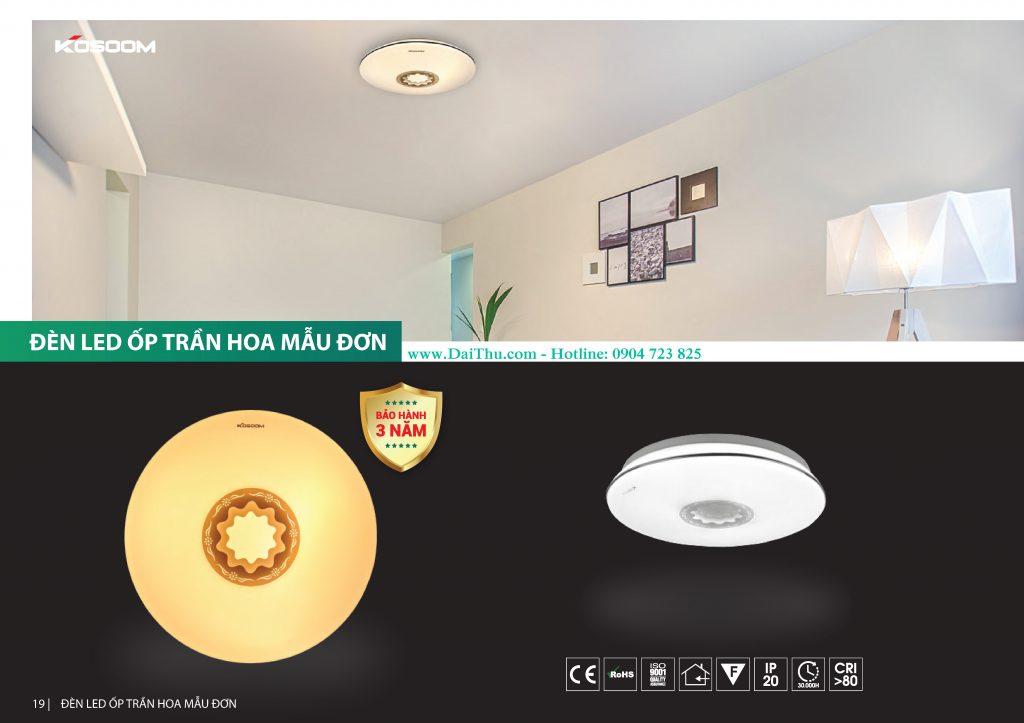 Đèn Led ốp trần Hoa mẫu đơn Kosoom TD đổi màu 3 chế độ Đèn trang trí phong thủy