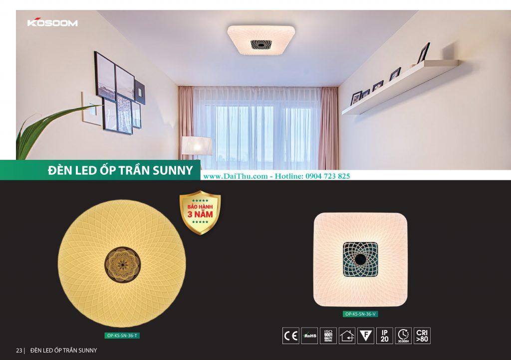Đèn Led ốp trần Sunny Kosoom Vuông tròn SN đổi màu 3 chế độ Đèn trang trí phong thủy