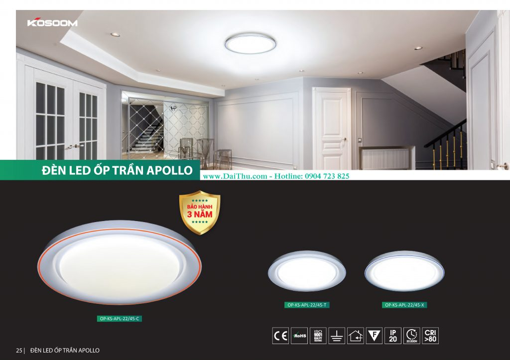 Đèn Led ốp trần Apollo Kosoom APL đổi màu 3 chế độ Đèn trang trí phong thủy