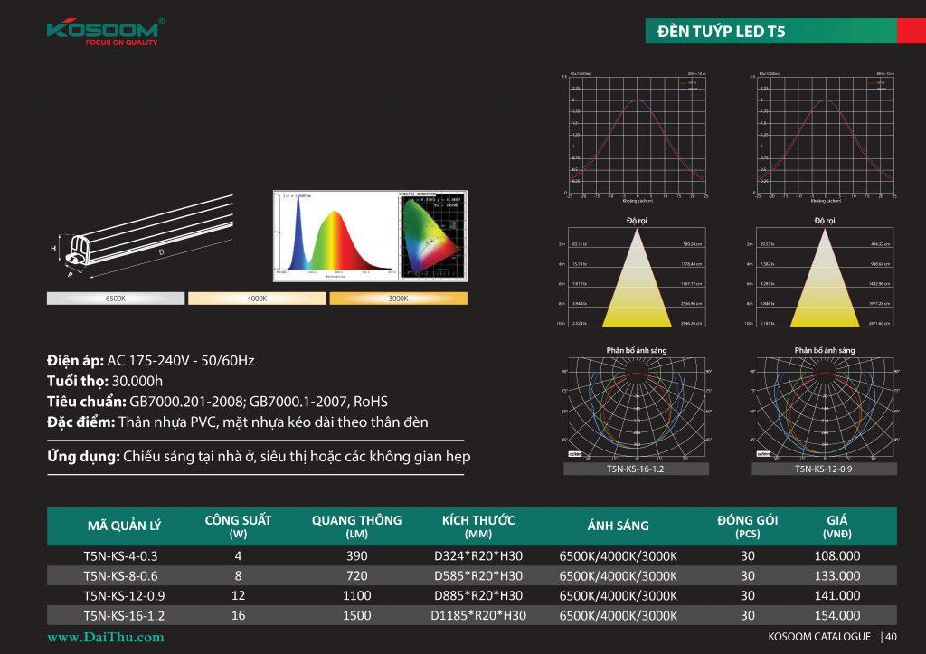 Thông số Đèn tuýp Led T5 Kosoom liền máng T5N 1m2 0m6 có ánh sáng trung tính 4000k