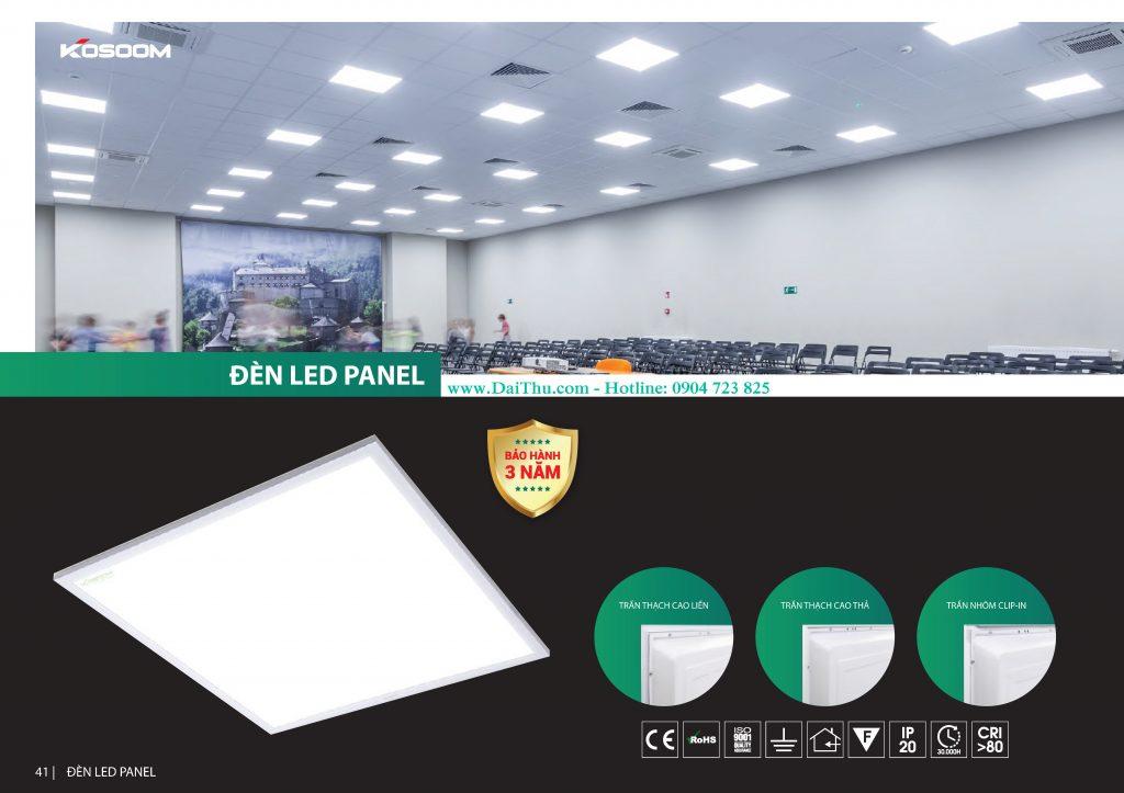 Đèn Led tấm Panel 600 600 Kosoom gắn trần thạch cao chất lượng giá tốt cho công trình dự án có ánh sáng trung tính 4000k