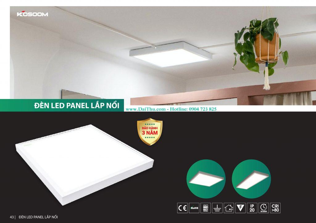 Đèn Led tấm Panel 600 600 Kosoom lắp nổi chất lượng giá tốt cho công trình dự án có ánh sáng trung tính 4000k