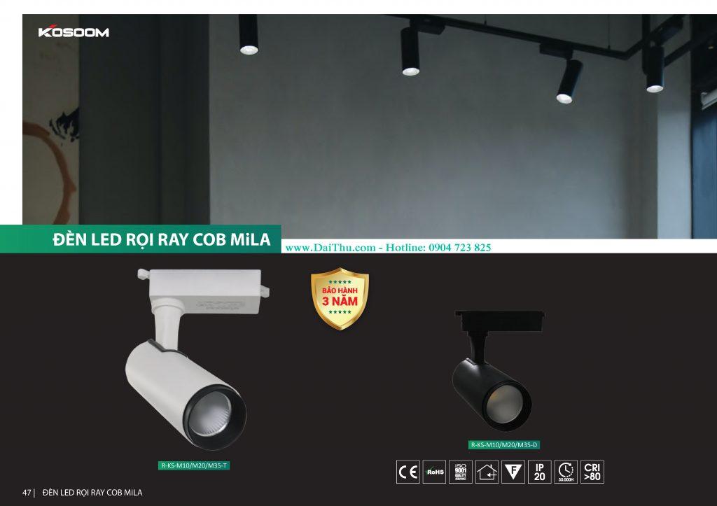 Đèn Led Rọi Thanh Ray COB MiLa Kosoom có ánh sáng 4000k trung tính 10W 20W 35W giá tốt cho công trình showroom cafe shop