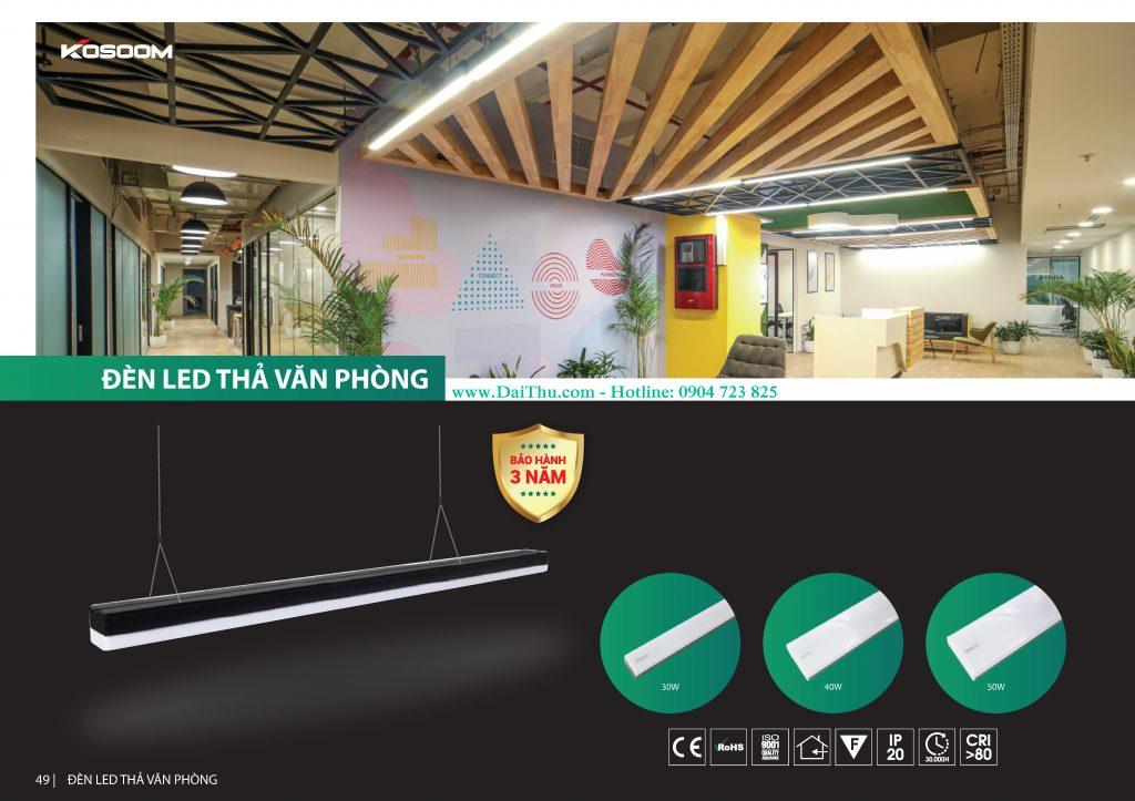 Đèn Led thả văn phòng Kosoom cao cấp tràn viền chất lượng cho các tòa nhà văn phòng làm việc 30W 40W 50W có ánh sáng trung tính 4000k