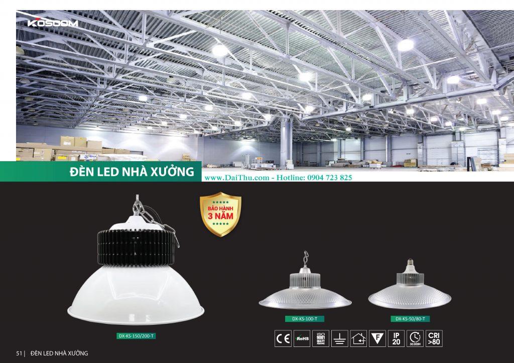 Đèn Led nhà xưởng Kosoom Đèn chao Led chất lượng cho nhà máy 50W 80W 100W 150W 200W