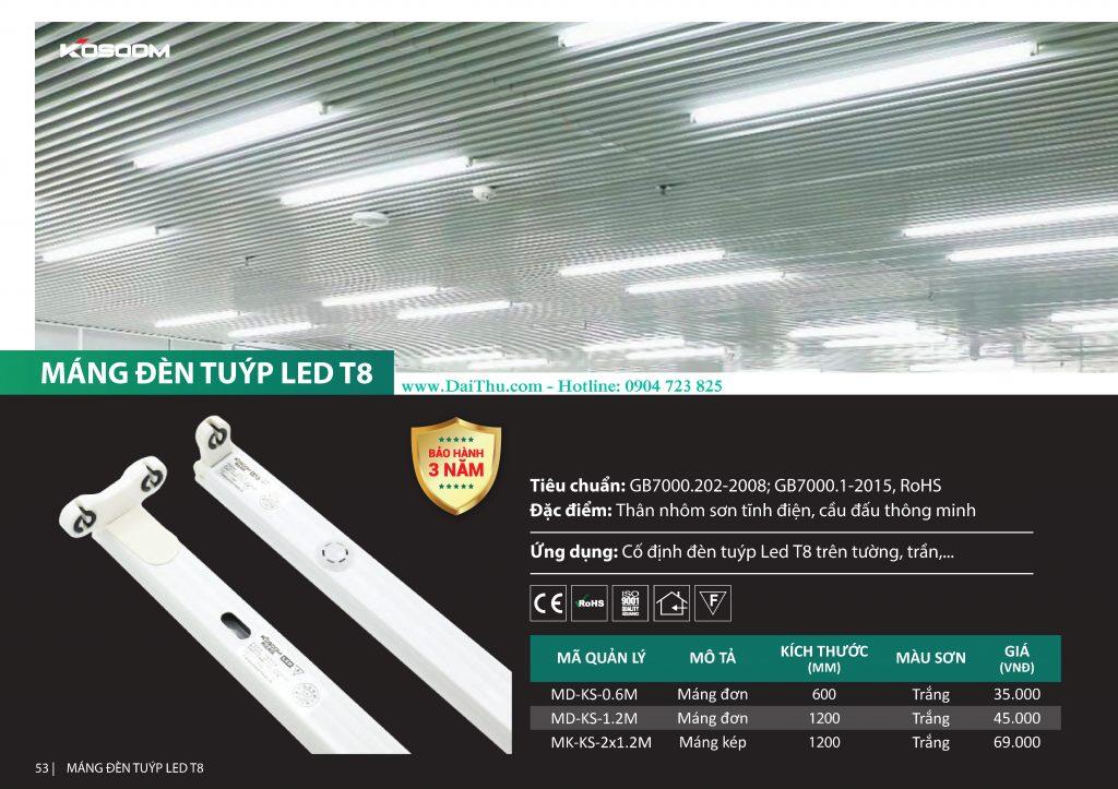 Máng đèn led đơn đôi 1m2 Kosoom cho bóng đèn tuýp Led T8 1m2 chất lượng cho nhà xưởng nhà máy