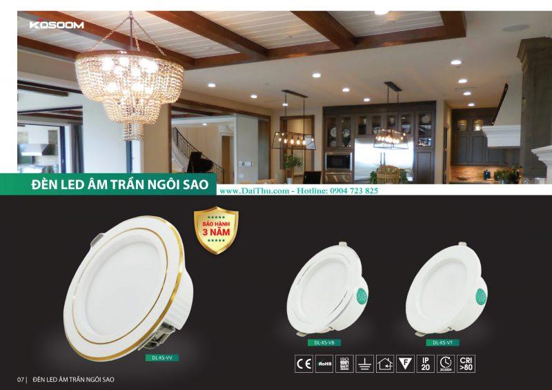 Đèn Led âm trần Kosoom Ngôi sao thân nhôm đúc nguyên khối giá tốt chất lượng cho công trình dự án