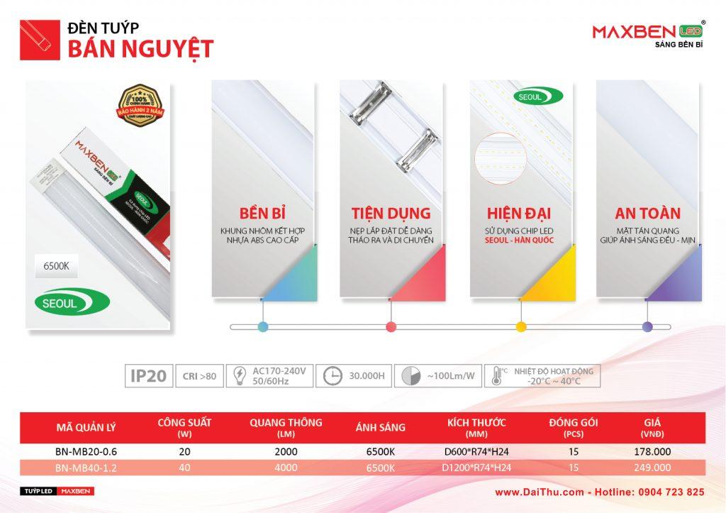 Bóng đèn Led tuýp T8 liền máng 1m2 _ LED tuýp bán nguyệt 1m2 40W giá rẻ chất lượng