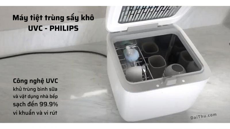 Máy tiệt trùng sấy khô bình sữa chất lượng cao bằng công nghệ UVC Philips 10L TC VN – 8719514326415 khử 99% vi khuẩn - An toàn cho Mẹ và Bé