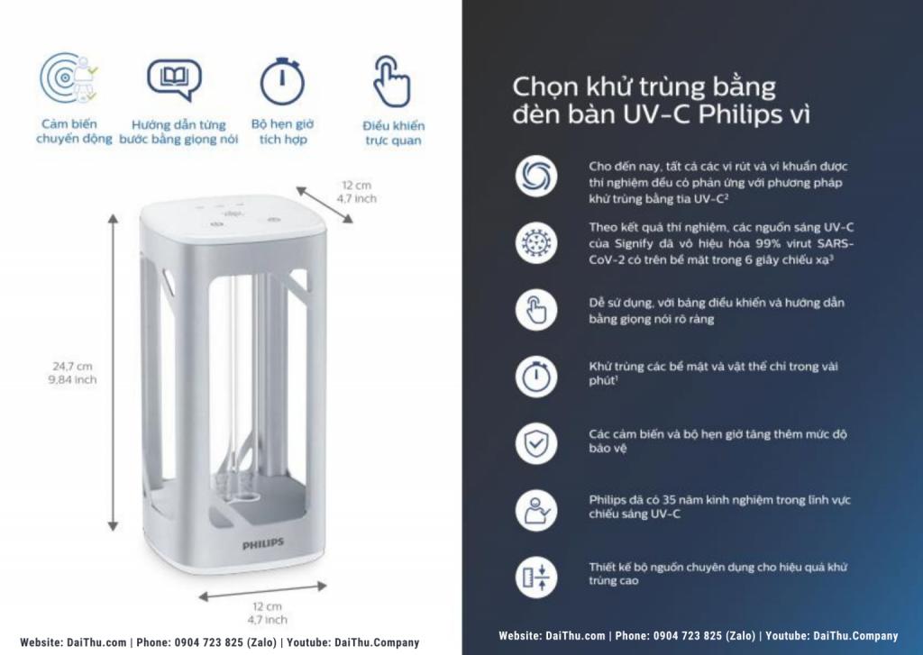 Vì sao nên chọn đèn bàn khử khuẩn Philips tia cực tím UVC 24W