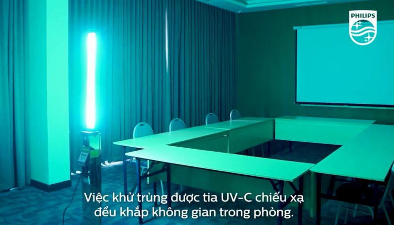 Xe đẩy khử khuẩn UV C Trolley 1 tay nâng 65W khử trùng phòng họp & văn phòng làm việc