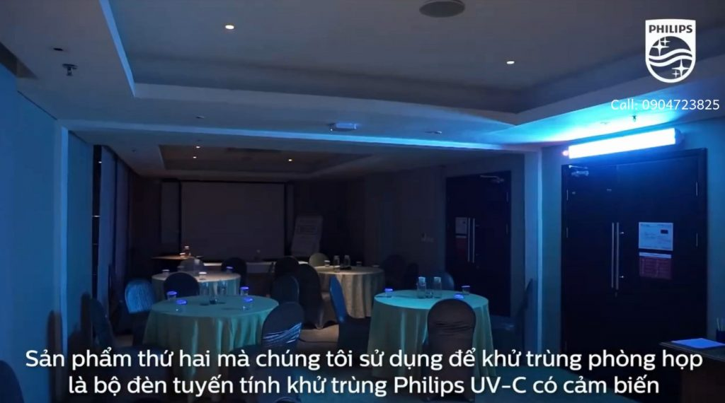 Giai Phap Khu trung Khach San & Toa Nha Van Phong & Can Ho Chung Cu bang Den Thanh TMS160C UVC 1m2 36W co sensor cam bien