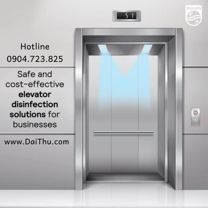 Khử khuẩn thang máy chung cư bằng UVC Trolley 1 tay nâng 65W Philips - Khử khuẩn thang máy văn phòng TMS160C TUV 1m2 36W có sensor cảm biến chuyển động an toàn